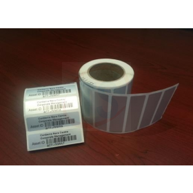 Matt Silver Polyester - 55x15mm Pre printed labels